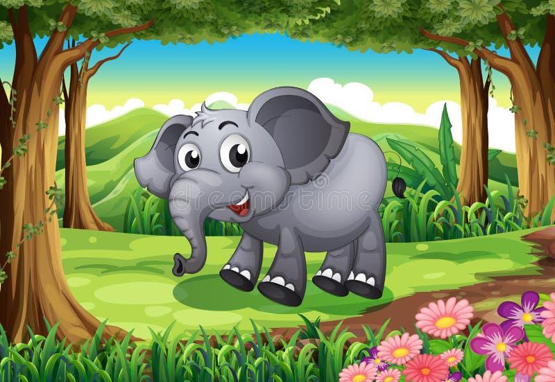 Ein lächelnder Elefant am Wald lizenzfreie abbildung