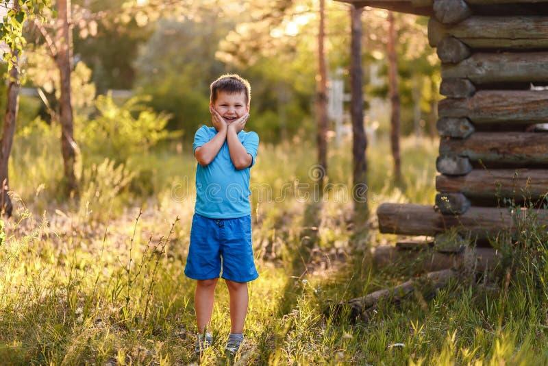 Ein lächelnder fünfjähriger Junge in der blauen Kleidung steht im Park auf einem natürlichen Hintergrund im Sommer im Kontra Sonn lizenzfreie stockbilder