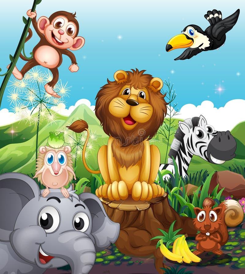 Ein Löwe über dem Stumpf umgeben mit spielerischen Tieren stock abbildung