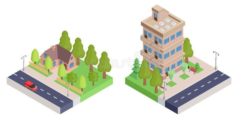 Ein Landhaus mit einem Zaun und einem isometrischen Haus der Wohnung stock abbildung