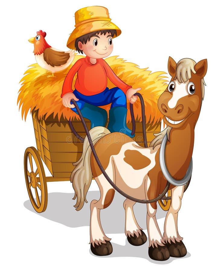 Ein Landwirt, der einen Warenkorb mit einem Huhn an seinem zurück reitet lizenzfreie abbildung