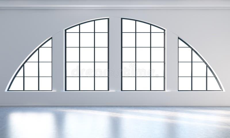 Ein leerer moderner heller und sauberer Dachbodeninnenraum Enorme panoramische Fenster mit weißen Kopienraum- und -WEISSwänden Ei vektor abbildung