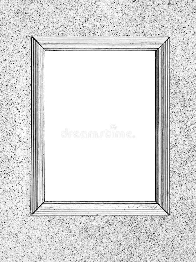Ein leerer Rahmen hängt an der Wand, ein Schwarzweiss-Muster stockfotografie