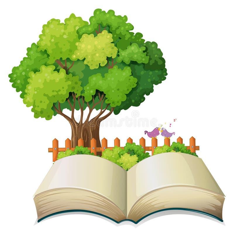 Ein leeres offenes Buch und ein Baum mit einem Zaun stock abbildung