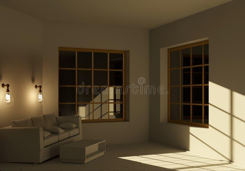 Ein leeres Zimmer mit moderner Renovierung am Abend mit brennenden Wandleuchten 3D-Darstellung stock abbildung