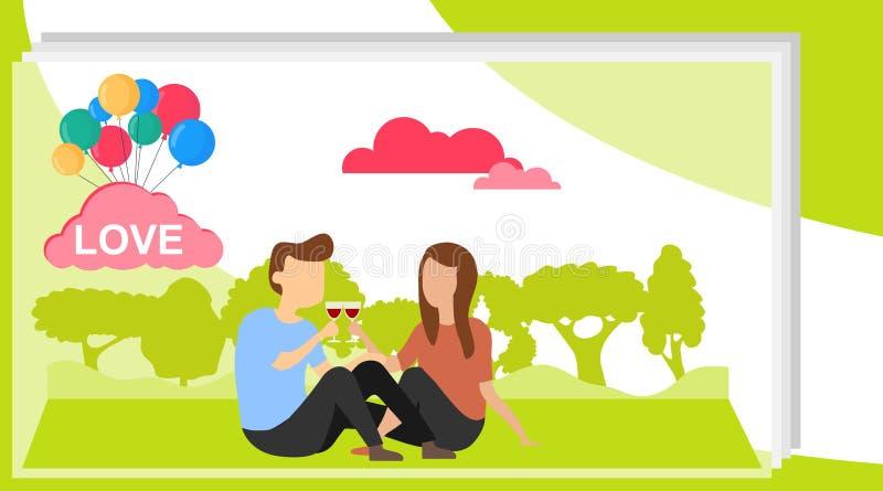 Ein liebevolles Paar sitzt auf einem Hintergrund der grünen Natur Ein Mann und eine Frau sitzen auf dem Gras und dem trinkenden W vektor abbildung