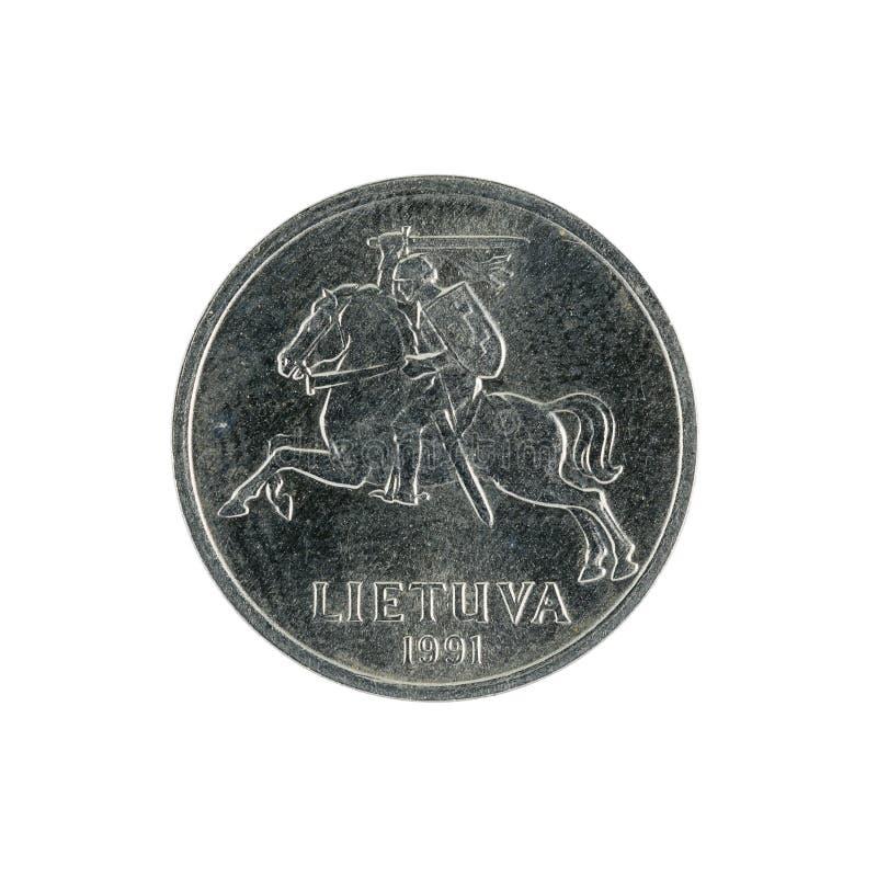 Ein Litauer centas prägen 1991 lokalisiert auf weißem Hintergrund lizenzfreies stockfoto