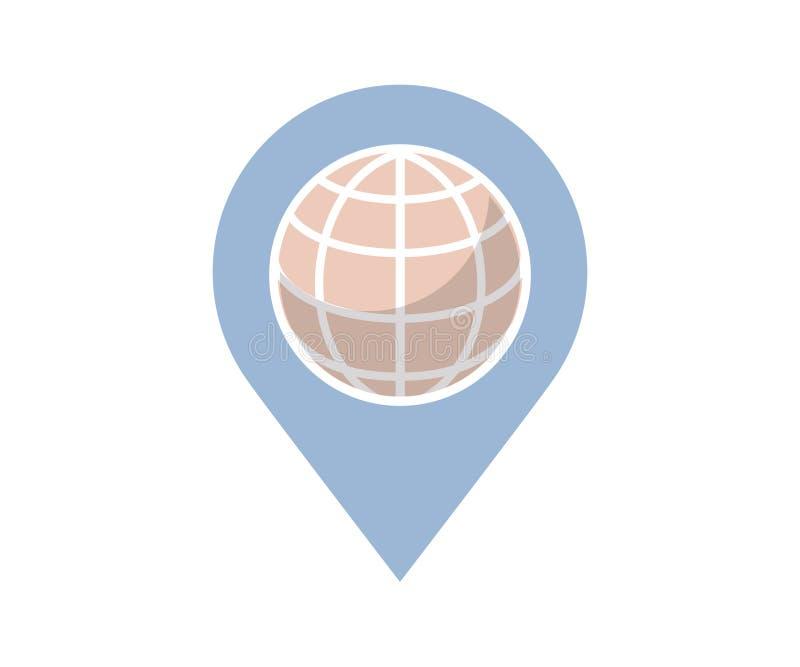 Ein Logo für Ökostandort App im weichen Blau auf weißem Hintergrund lizenzfreie abbildung