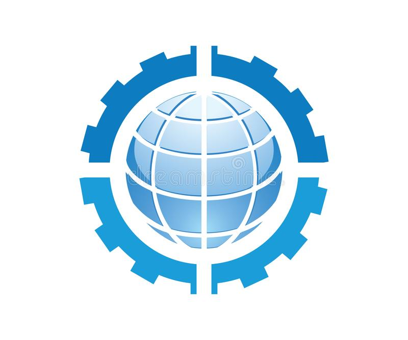 Ein Logo für mechanische Firma der Maschinerie, die von vier Gängen und von einer Kugel alle in der blauen Farbe enthält vektor abbildung