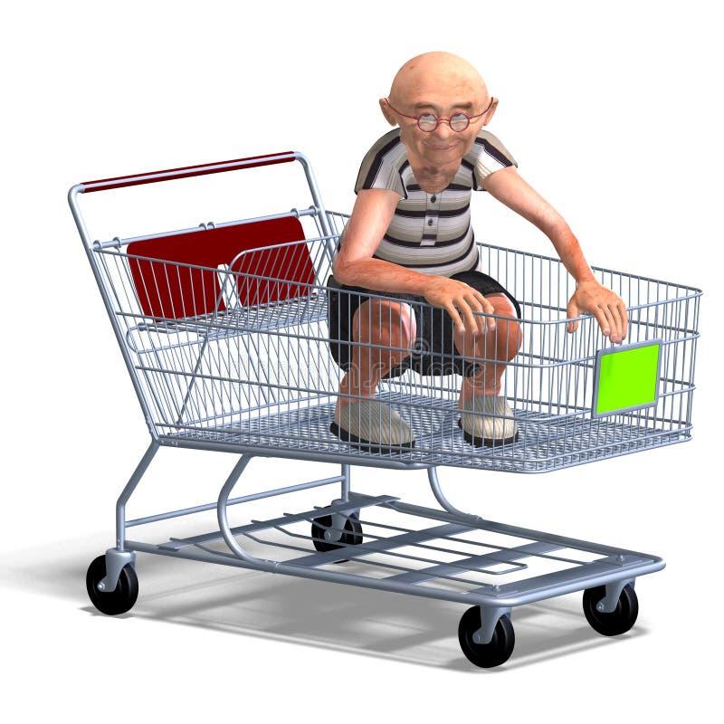Ein lustiger Älterer mit Webseitenelementen vektor abbildung