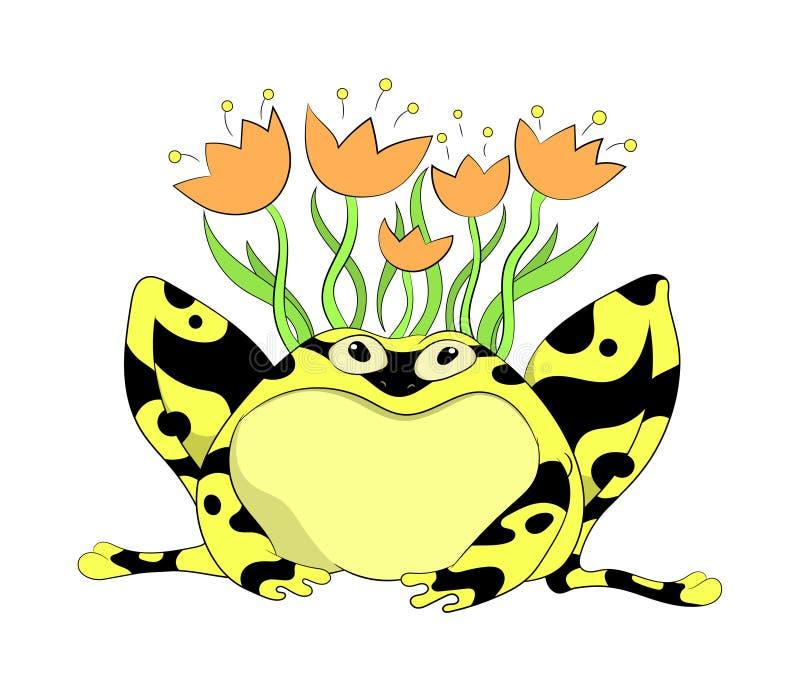 Ein lustiger gelber Frosch mit Blumen lizenzfreie stockfotografie