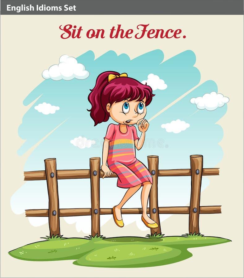 Ein Mädchen, das auf dem Zaun sitzt vektor abbildung