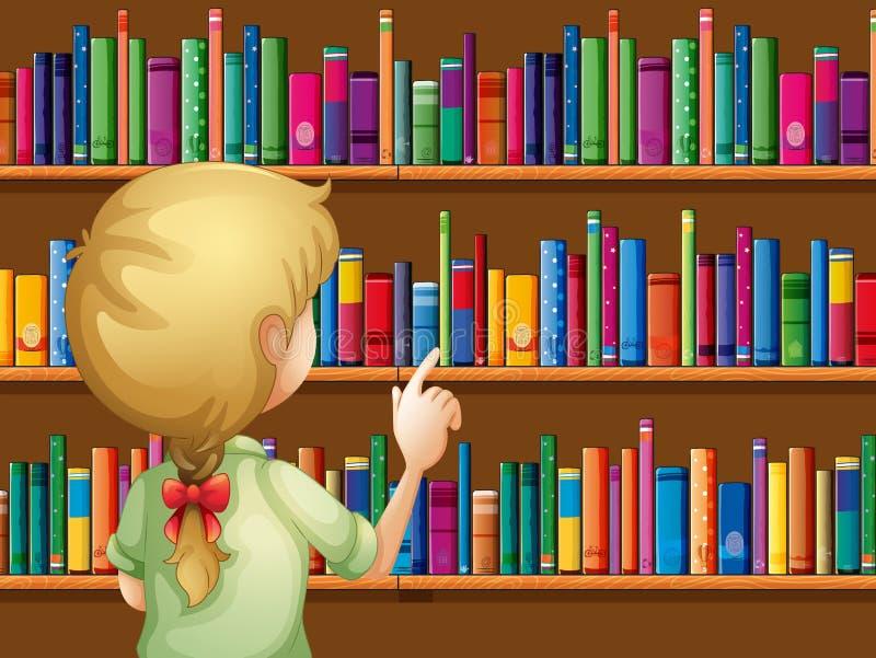 Ein Mädchen, das Bücher vorwählt lizenzfreie abbildung