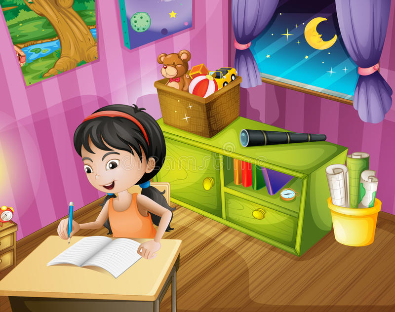 Ein Mädchen, das einen Bleistift hält lizenzfreie abbildung