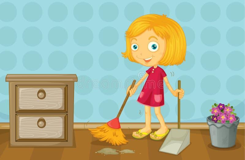 Ein Mädchen, das einen Raum säubert lizenzfreie abbildung
