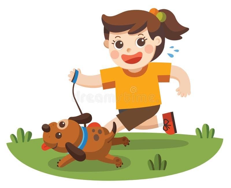 Ein Mädchen, das geht, den Hund für einen Weg zu nehmen stock abbildung