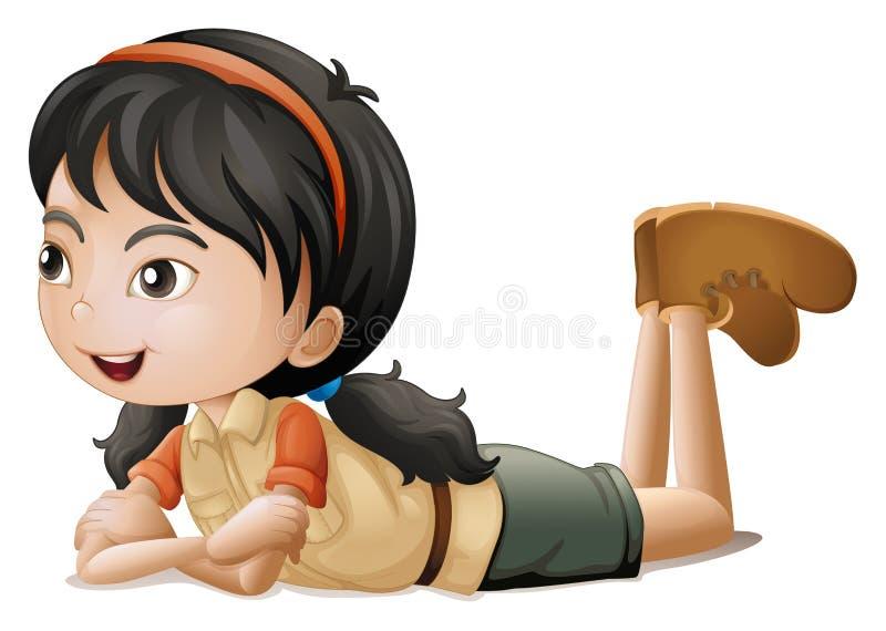 Ein Mädchen, das sich hinlegt stock abbildung