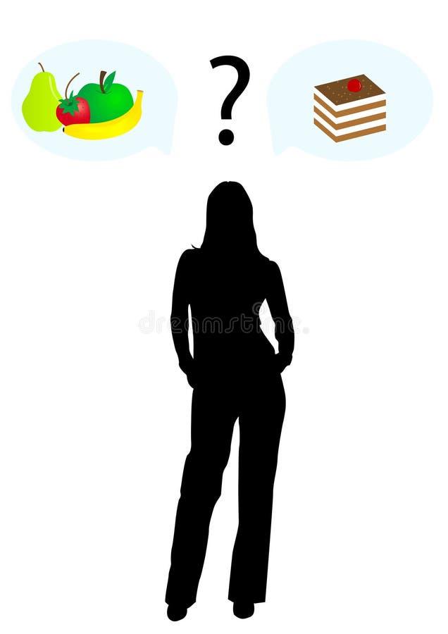 Ein Mädchen, das zwischen Früchten wählt und lizenzfreie abbildung