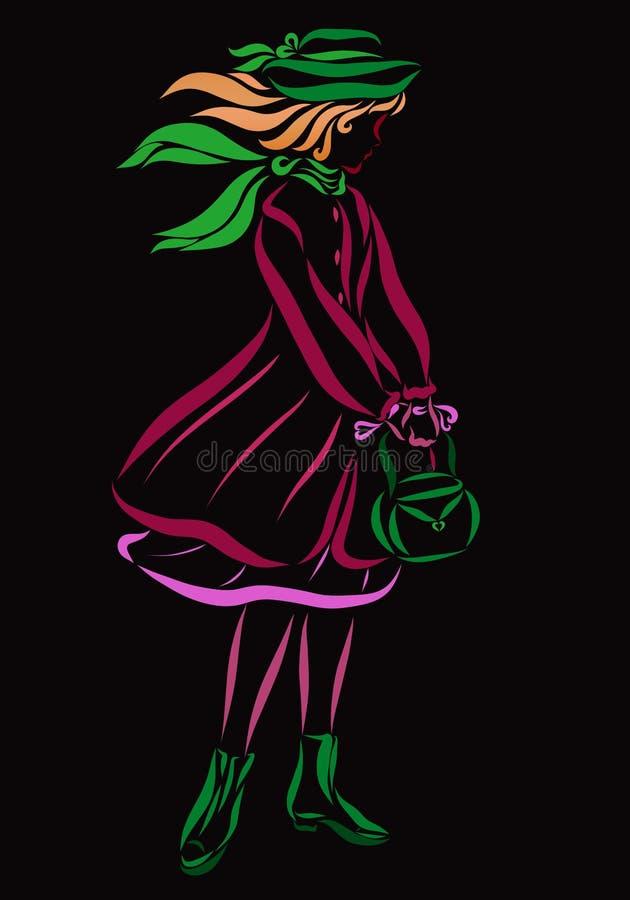 Ein Mädchen in der schönen Herbst- oder Frühlingskleidung, mit einer Handtasche stock abbildung