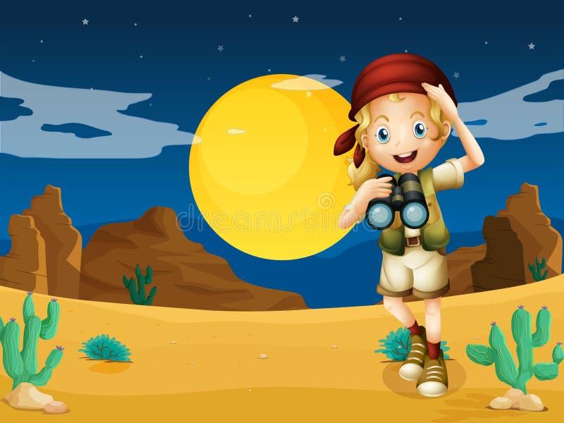 Ein Mädchen an der Wüste mit einem Teleskop stock abbildung