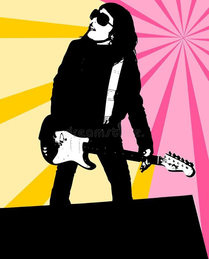 Ein Mädchen, eine Gitarre vektor abbildung