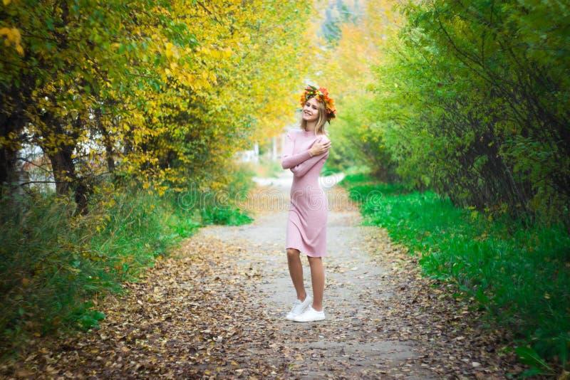 Ein M?dchen in einem Herbstkranz und in einem rosa Kleid steht auf dem Hintergrund einer Herbstgasse lizenzfreie stockfotos