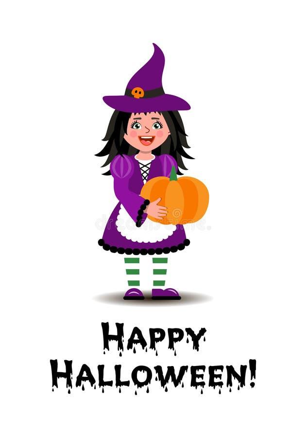 Ein M?dchen in einem Hexenkost?m h?lt einen K?rbis f?r Halloween Illustration in der Karikaturart lizenzfreie abbildung