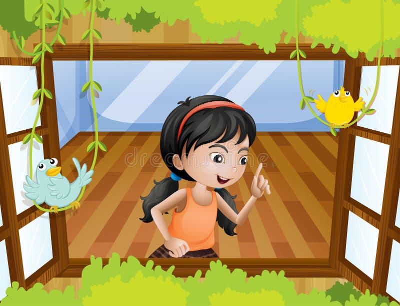 Ein Mädchen am Fenster mit Vögeln vektor abbildung