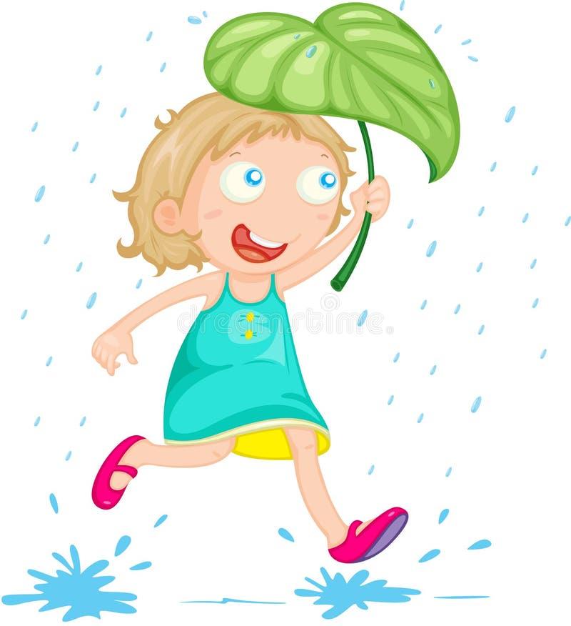 Ein Mädchen im Regen lizenzfreie abbildung
