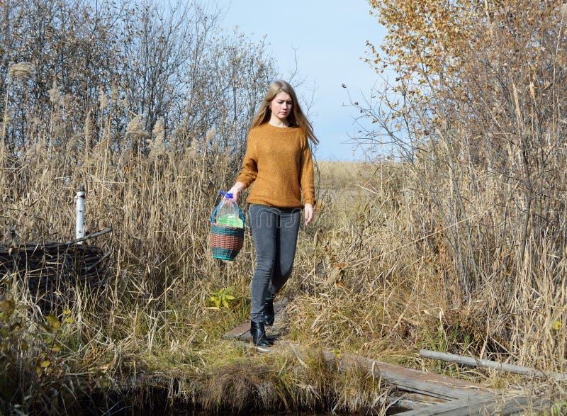 Ein Mädchen ist am Waldfrühling stockbilder