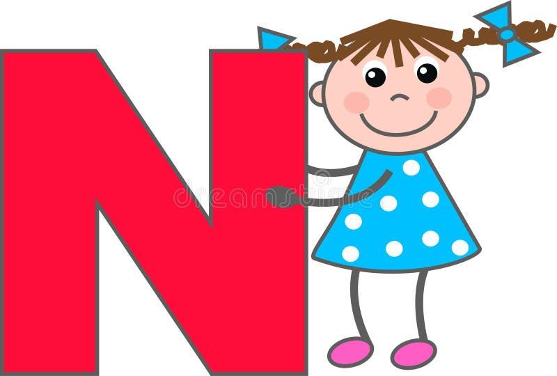 Ein Mädchen mit Buchstaben N lizenzfreie abbildung