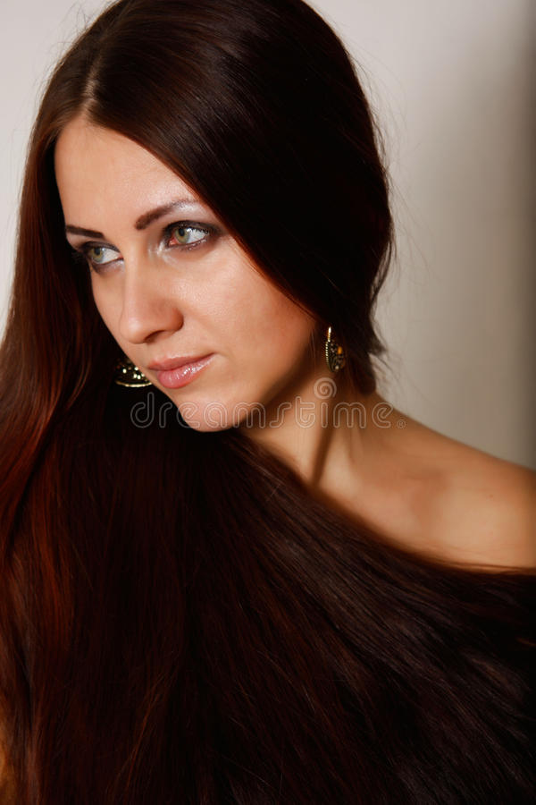 Ein Mädchen mit dem langen Haar. stockbild