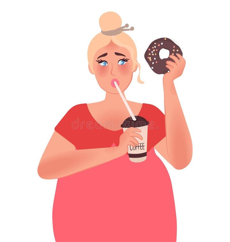 Ein Mädchen mit einem curvaceous Körper trinkt Kaffee und hält einen süßen Donut Übergewicht, Korpulenz, Diätetik Modegrößenplus  lizenzfreie abbildung