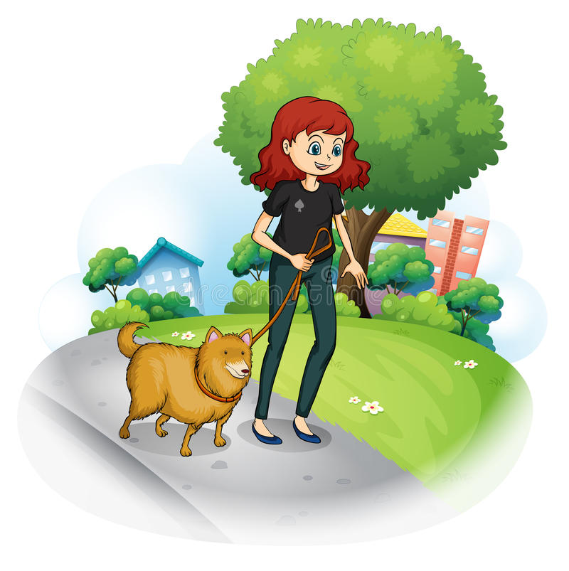 Ein Mädchen mit einem Hund, der entlang die Straße geht stock abbildung