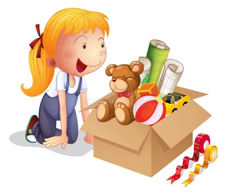 Ein Mädchen mit einem Kasten Spielwaren stock abbildung