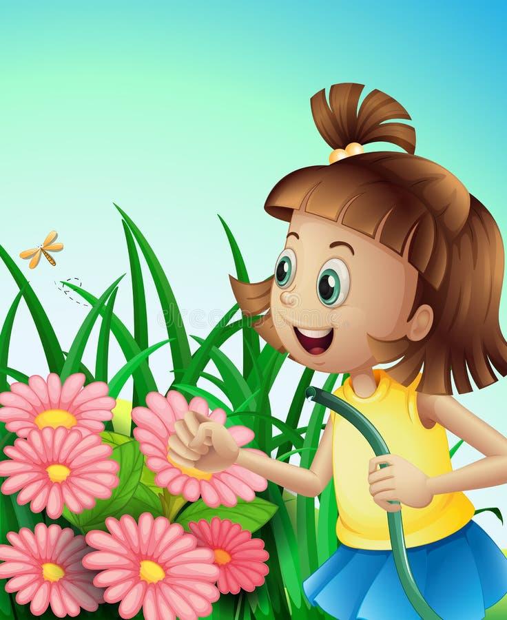 Ein Mädchen mit einem Schlauch am Garten vektor abbildung
