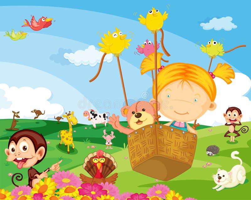 Ein Mädchen mit verschiedenen Tieren stock abbildung