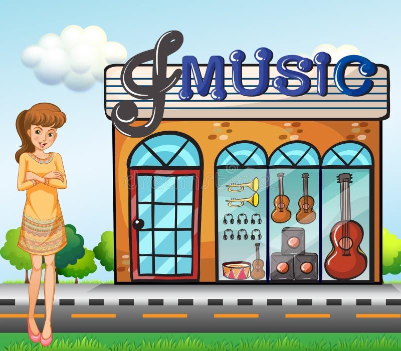 Ein Mädchen nahe dem Musikshop vektor abbildung