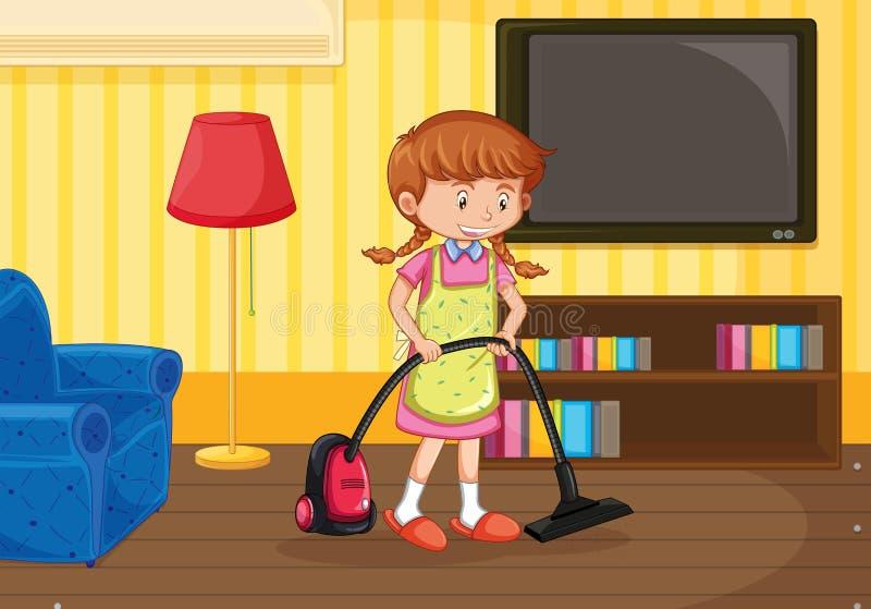 Ein Mädchen-Reinigungs-Wohnzimmer stock abbildung