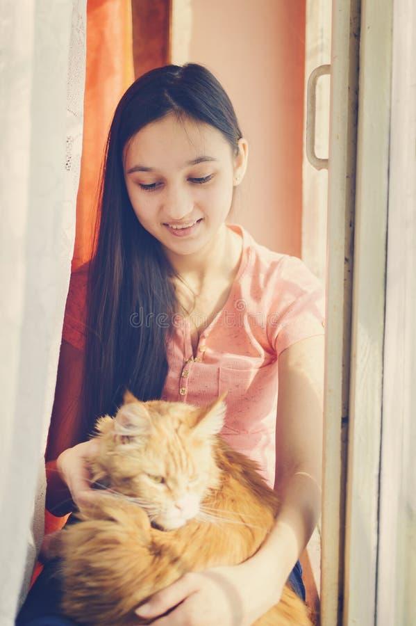 Ein Mädchen streicht eine rote Katze lizenzfreie stockbilder