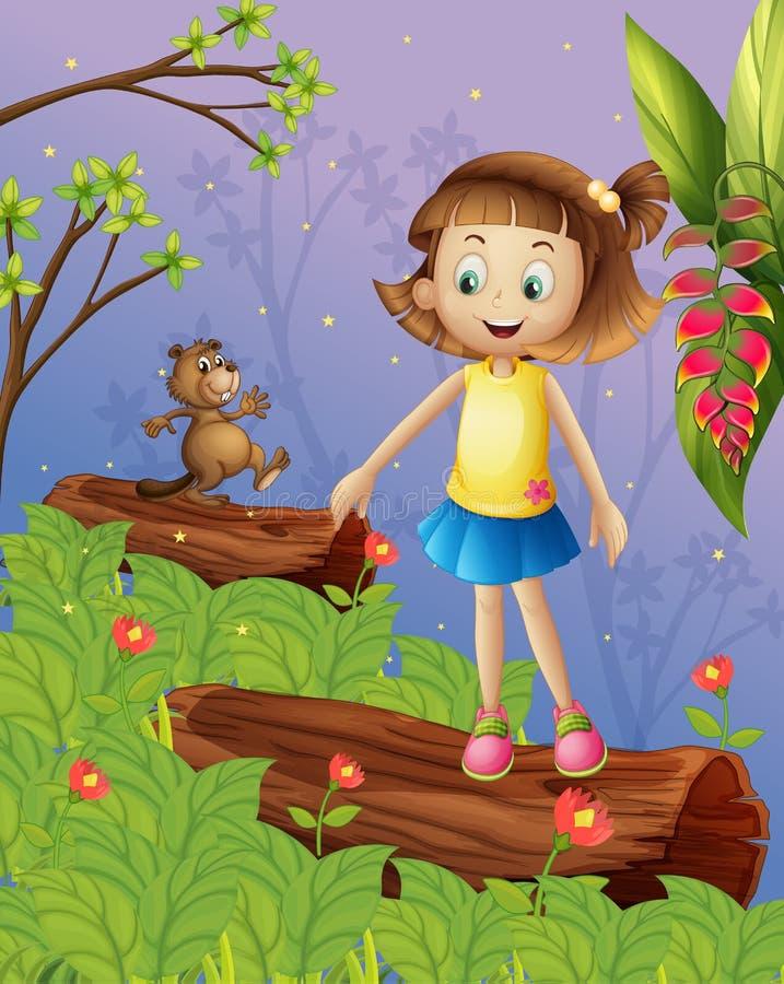 Ein Mädchen und ein Biber im Dschungel lizenzfreie abbildung
