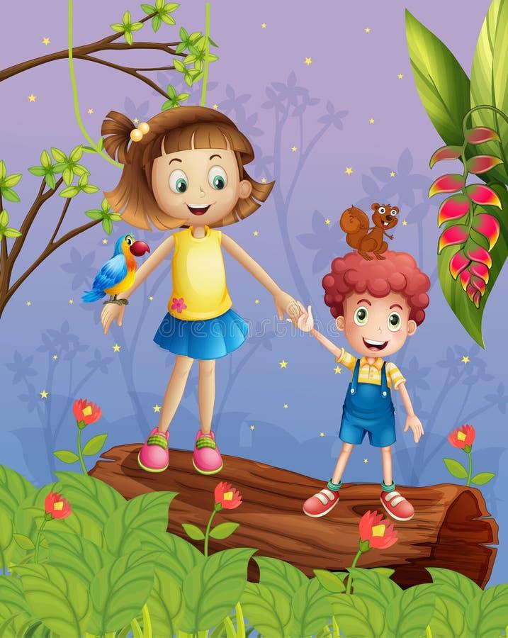Ein Mädchen und ein Junge im Wald lizenzfreie abbildung