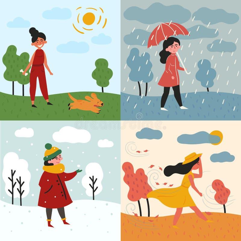 Ein Mädchen und vier Jahreszeiten und Wetter Snowy, regnerisch lizenzfreie abbildung