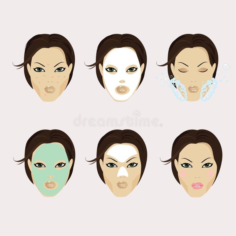 Ein Mädchengesicht mit Gesichtsmaske und Make-up stockbilder