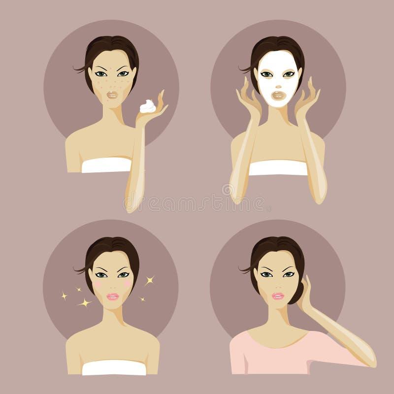 Ein Mädchengesicht mit Gesichtsmaske und Make-up lizenzfreie stockfotografie