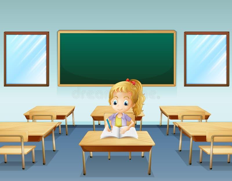Ein Mädchenschreiben mit einem leeren Brett an der Rückseite lizenzfreie abbildung
