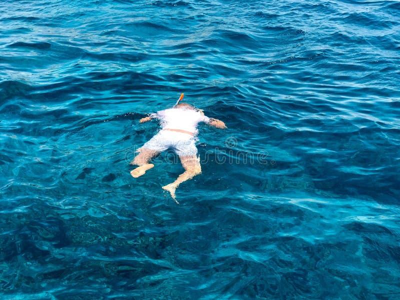 Ein männlicher Schwimmer in einem weißen T-Shirt, kurze Hosen und Maske, Sporttauchenschauspiele mit einem Atemschlauch schwimmt  lizenzfreies stockfoto