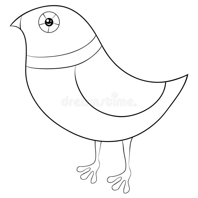 Ein Malbuch, Seite ein nette Karikatur lokalisiertes Vogelbild für Kinder Linie Kunstartillustration für die Entspannung vektor abbildung