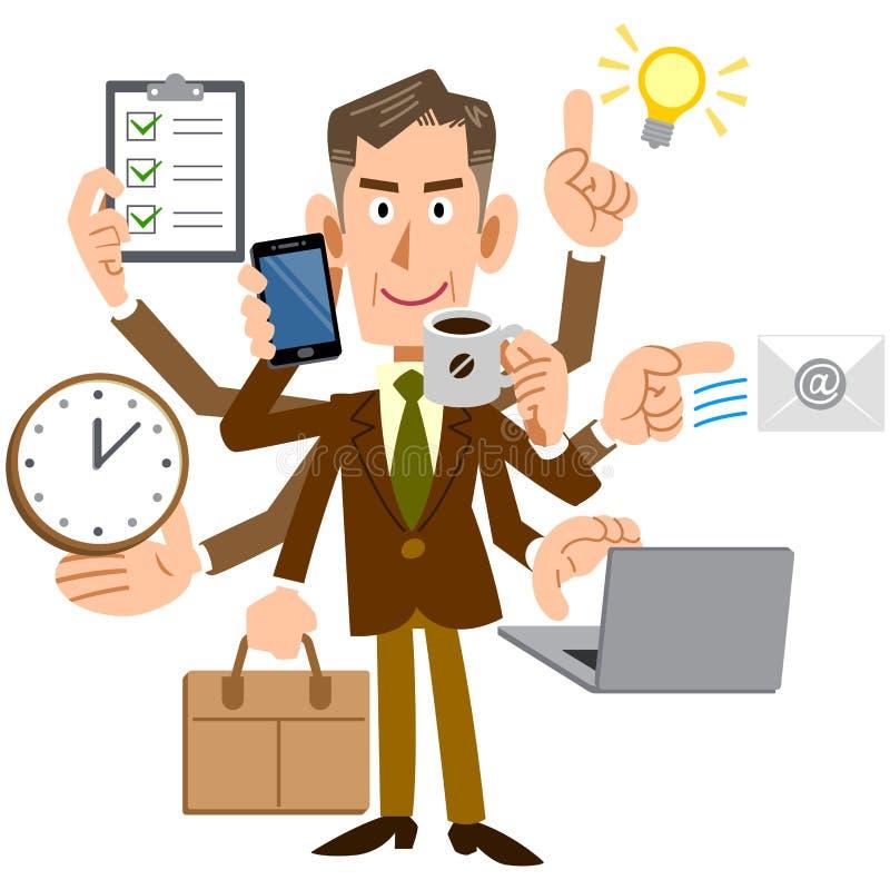 Ein Manager eines Managers, der Multitasking durchführt vektor abbildung