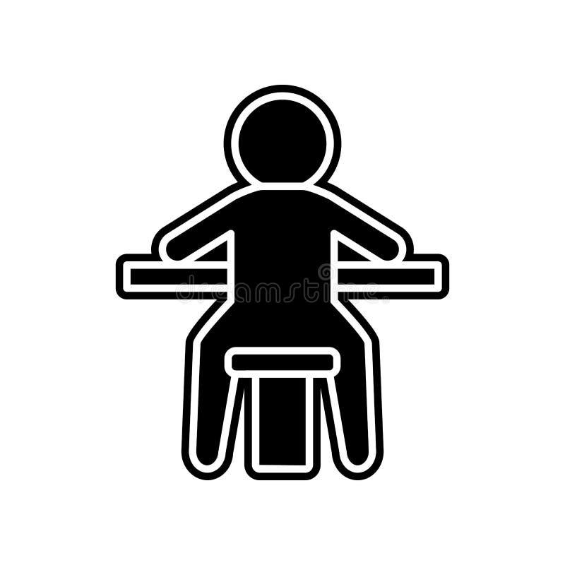 ein Mann, der an einem Spiel in einer Kasinoikone sitzt Element des Kasinos f?r bewegliches Konzept und Netz Appsikone Glyph, fla stock abbildung